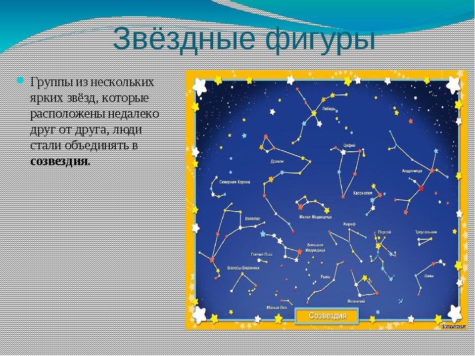 Звёздные фигуры Группы из нескольких ярких звёзд, которые расположены недалек...
