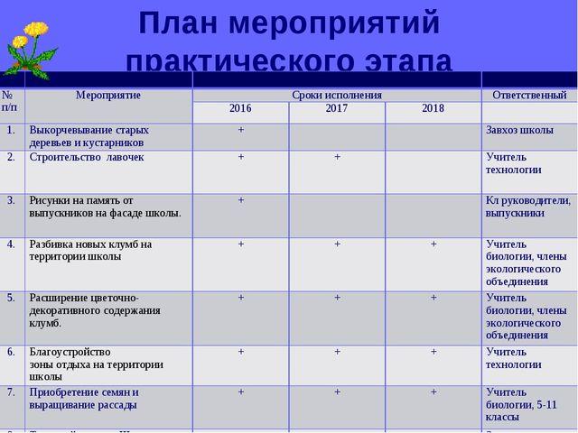 План мероприятий практического этапа    № п/пМероприятиеСроки исполне...