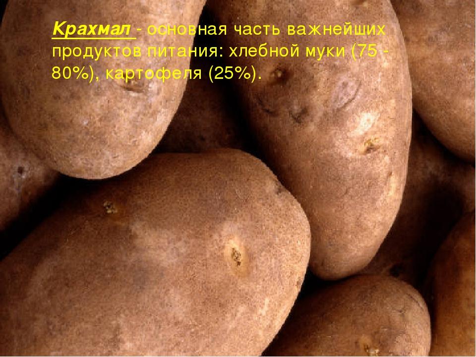 Крахмал - основная часть важнейших продуктов питания: хлебной муки (75 - 80%)...