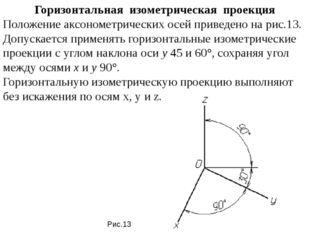 Горизонтальная изометрическая проекция Положение аксонометрических осей при