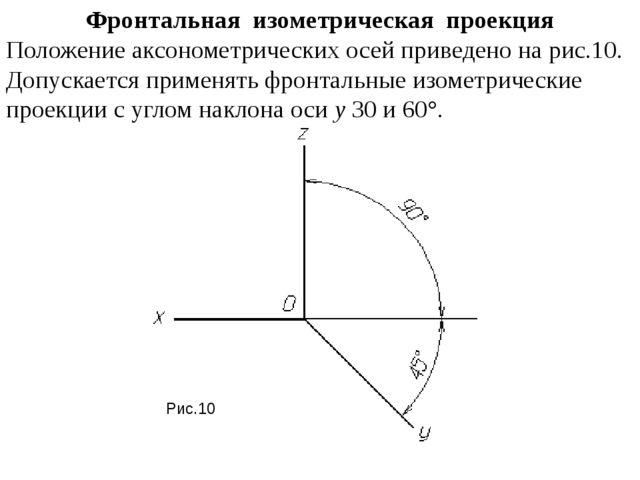 Фронтальная изометрическая проекция Положение аксонометрических осей привед...