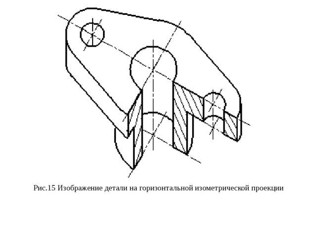 Рис.15 Изображение детали на горизонтальной изометрической проекции