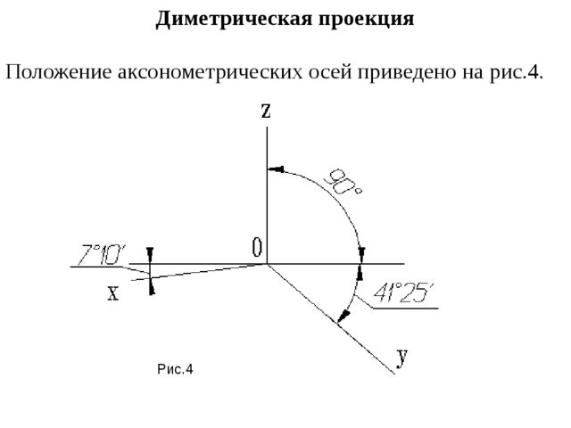 Диметрическая проекция Положение аксонометрических осей приведено на рис.4. Р...