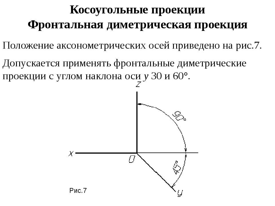Косоугольные проекции Фронтальная диметрическая проекция Положение аксонометр...