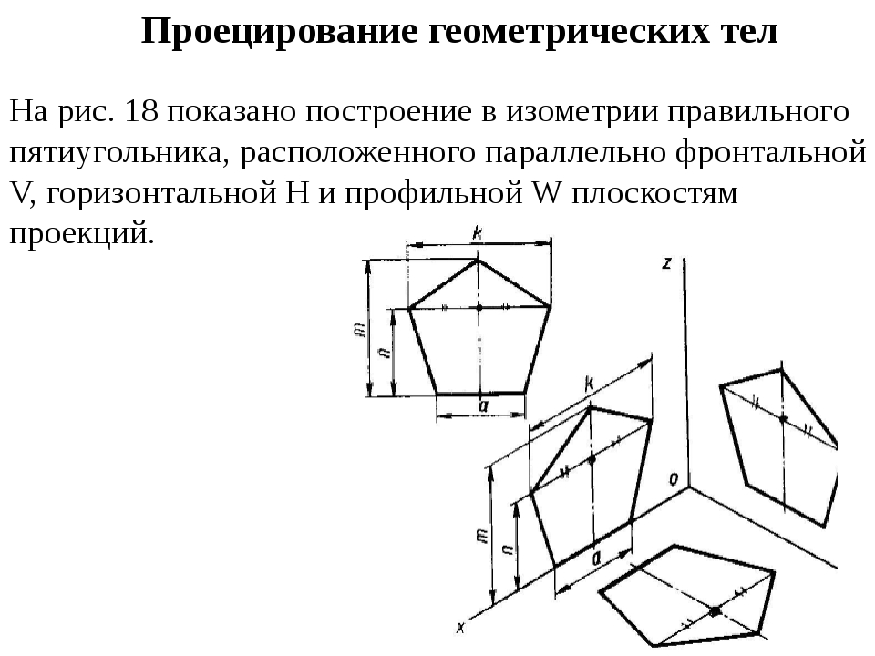 Проецирование геометрических тел На рис. 18 показано построение в изометрии п...