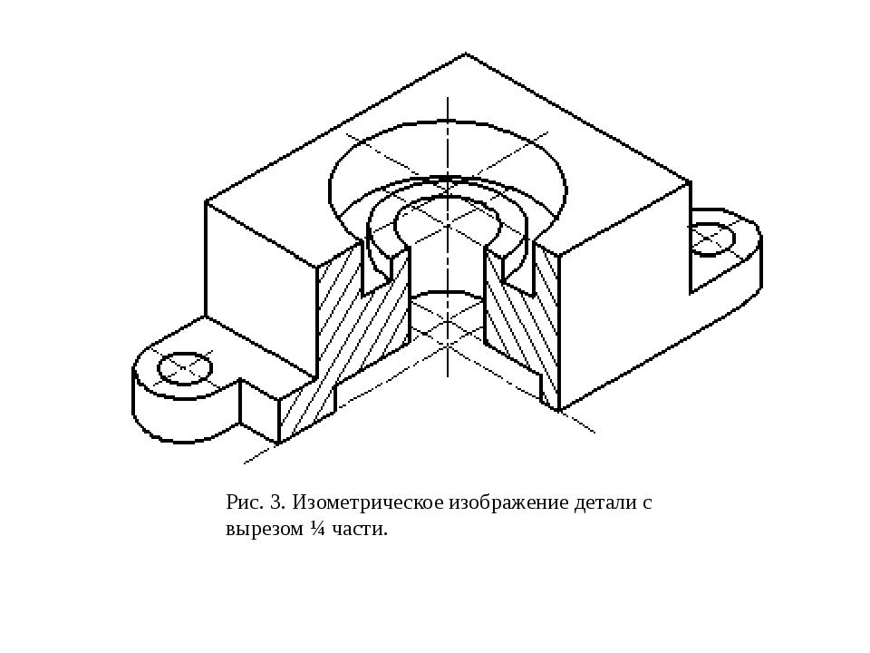 Рис. 3. Изометрическое изображение детали с вырезом ¼ части.