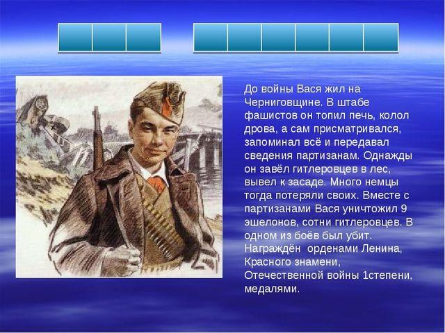 До войны Вася жил на Черниговщине. В штабе фашистов он топил печь, колол дров...