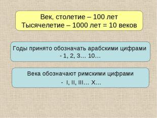 Век, столетие – 100 лет Тысячелетие – 1000 лет = 10 веков Годы принято обозна