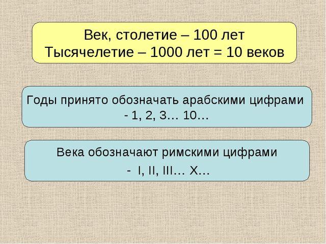 Век, столетие – 100 лет Тысячелетие – 1000 лет = 10 веков Годы принято обозна...
