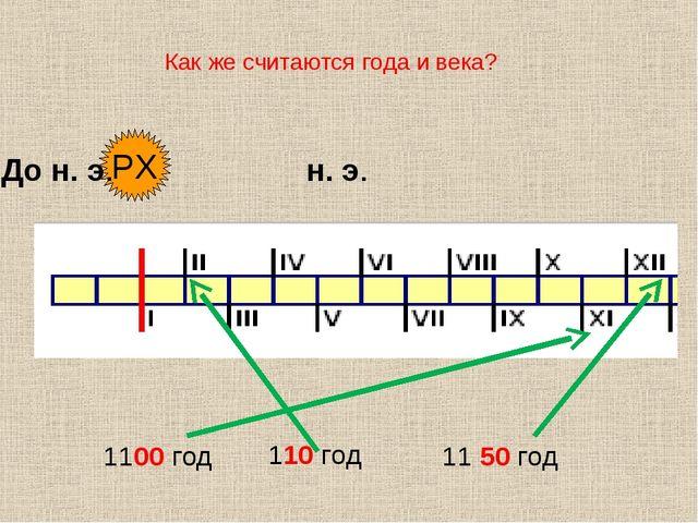 Как же считаются года и века? РХ До н. э. н. э. 1100 год 110 год 11 50 год