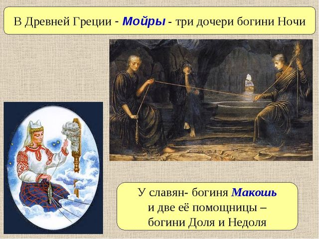У славян- богиня Макошь и две её помощницы – богини Доля и Недоля В Древней Г...