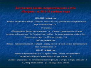 Достижения военно-патриотического клуба «Патриот» за 2012-15 учебные годы 201