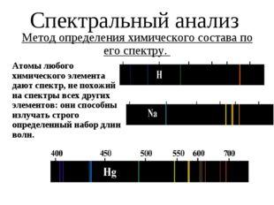 Спектральный анализ Метод определения химического состава по его спектру. Ато
