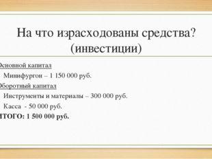 На что израсходованы средства? (инвестиции) Основной капитал Минифургон – 1 1