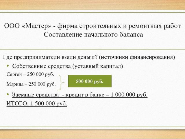 ООО «Мастер» - фирма строительных и ремонтных работ Составление начального ба...