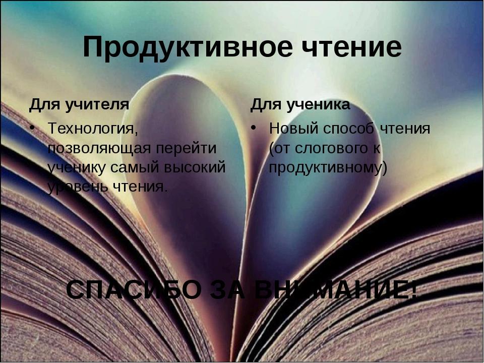 Продуктивное чтение Для учителя Технология, позволяющая перейти ученику самый...