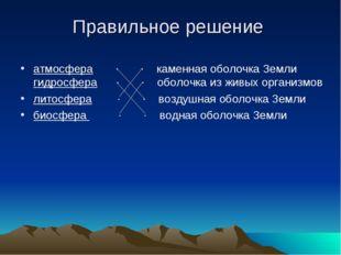 Правильное решение атмосфера ∙ ∙ каменная оболочка Земли гидросфера ∙ ∙ оболо