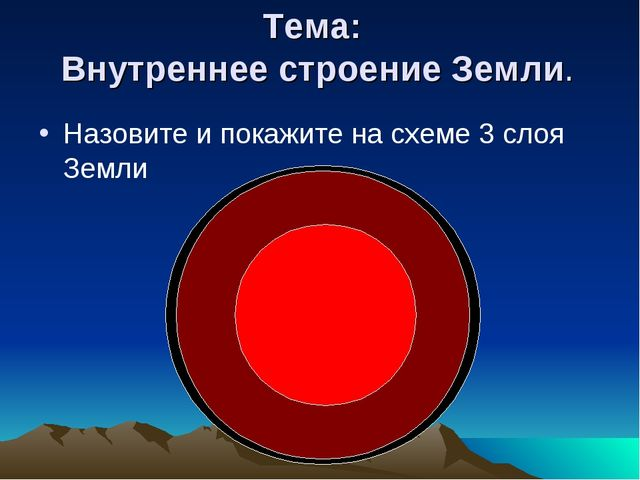 Тема: Внутреннее строение Земли. Назовите и покажите на схеме 3 слоя Земли