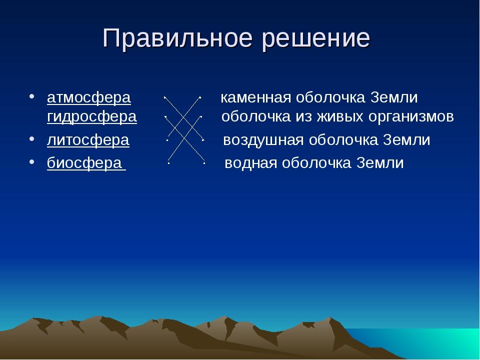 Правильное решение атмосфера ∙ ∙ каменная оболочка Земли гидросфера ∙ ∙ оболо...