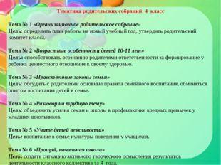 Тематика родительских собраний 4 класс  Тема № 1 «Организационное родительск