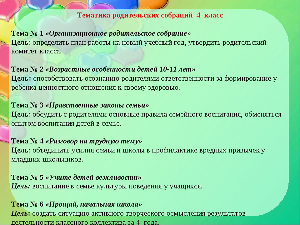 Тематика родительских собраний 4 класс  Тема № 1 «Организационное родительск...
