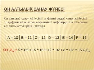 Он алтылық санау жүйесінің алфавиті ондық санау жүйесінің 10 цифрын және латы