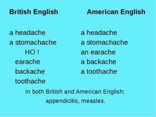 British English American English a headache a stomachache НО ! earache back
