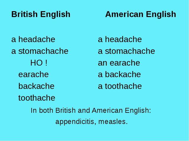 British English American English a headache a stomachache НО ! earache back...