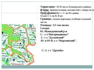 Территория : Ю-В часть Кукморского района. форма: прямоугольник, вытянутый с