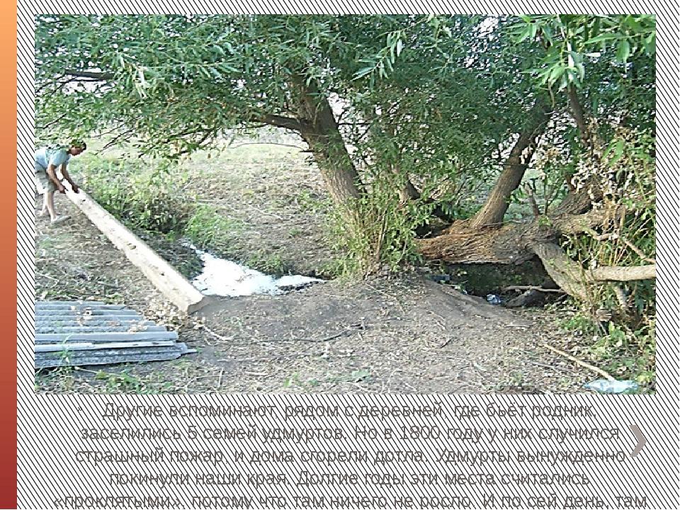 Другие вспоминают, рядом с деревней, где бьёт родник, заселились 5 семей удм...