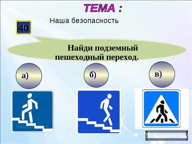 в) б) а) 40 Найди подземный пешеходный переход. Продолжить игру Наша безопасн...