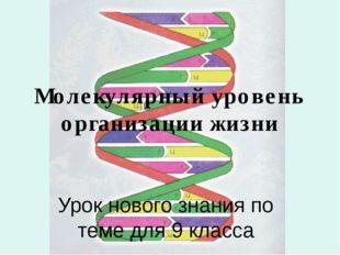 Молекулярный уровень организации жизни Урок нового знания по теме для 9 класса