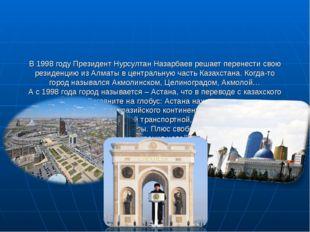 В 1998 году Президент Нурсултан Назарбаев решает перенести свою резиденцию из