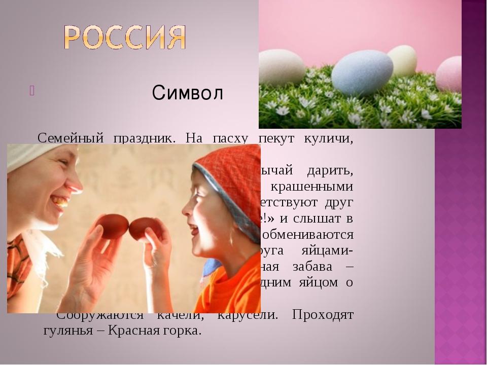Символ Семейный праздник. На пасху пекут куличи, пасху, красят яйца. Главной...