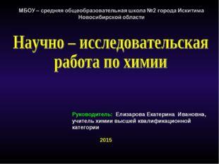 Руководитель: Елизарова Екатерина Ивановна, учитель химии высшей квалификацио