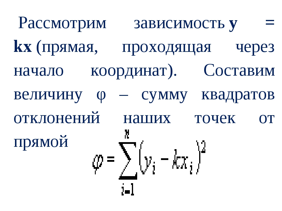 Рассмотрим зависимостьy = kx(прямая, проходящая через начало координат). Со...