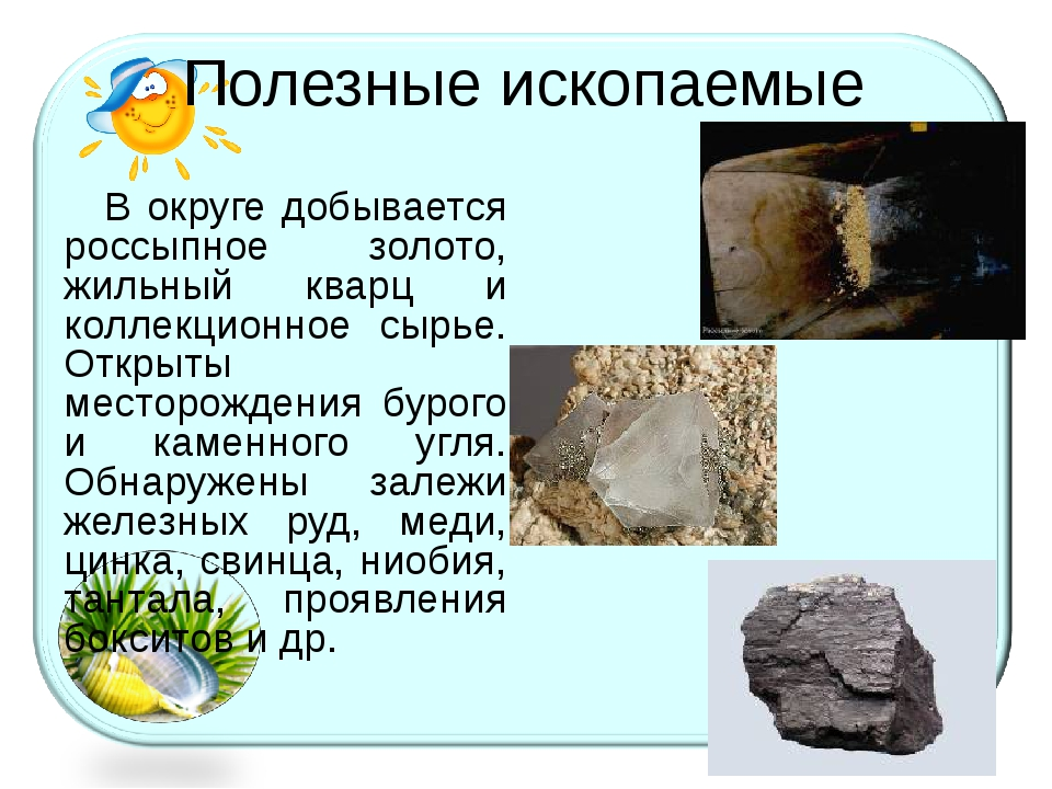 Полезные ископаемые В округе добывается россыпное золото, жильный кварц и кол...