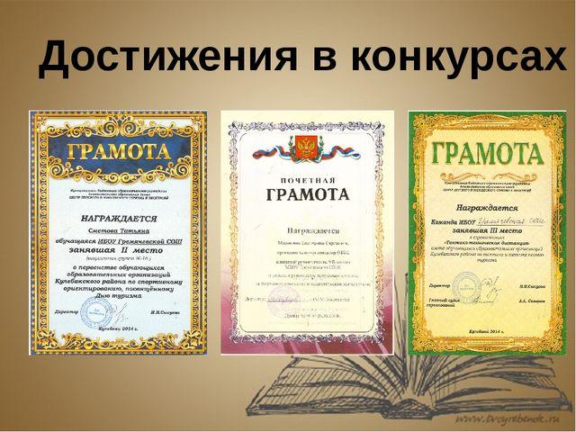Достижения в конкурсах