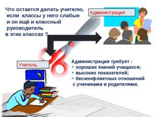 Учитель Администрация Администрация требует : хороших знаний учащихся; высоки