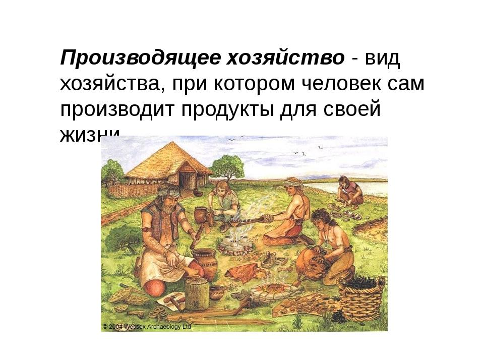 Производящее хозяйство - вид хозяйства, при котором человек сам производит пр...