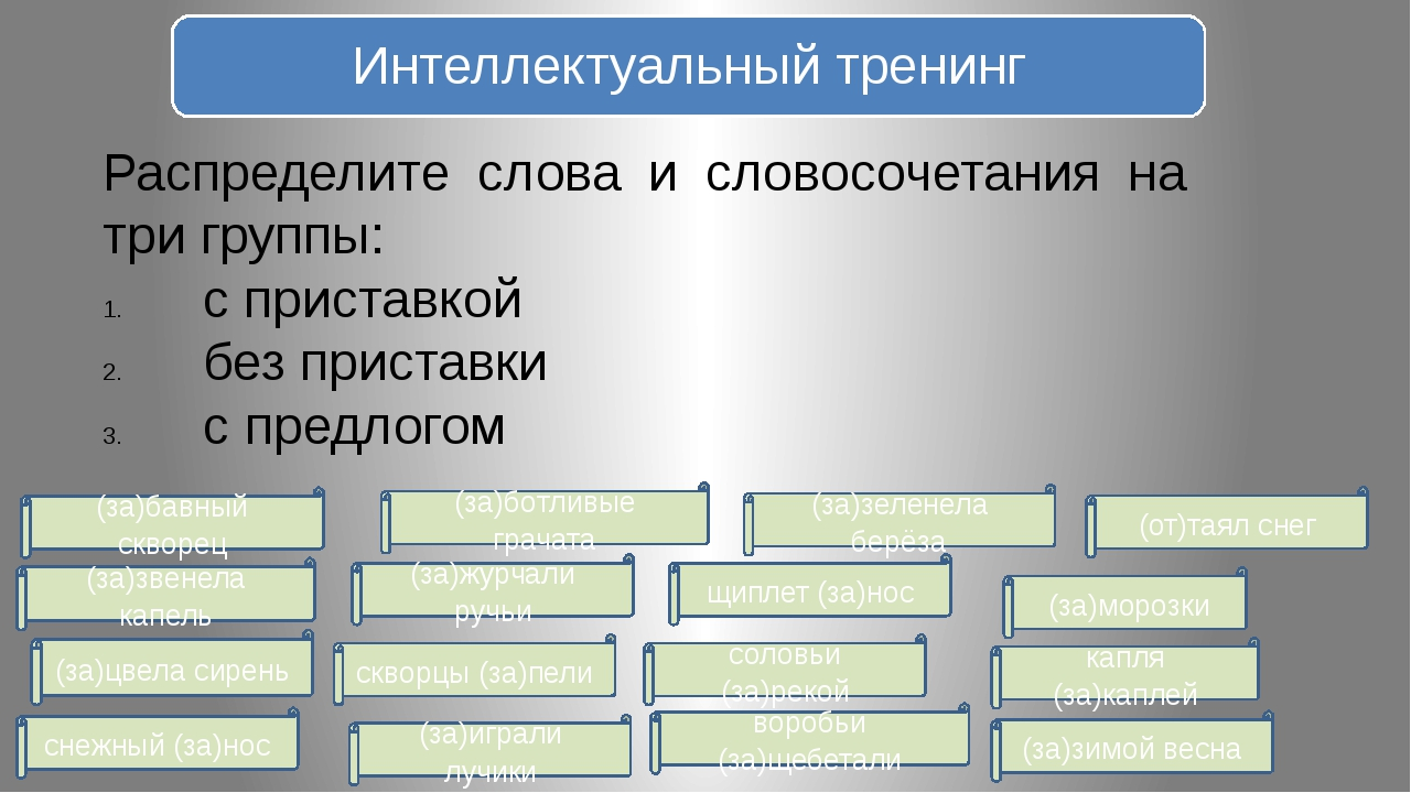 Распределите слова и словосочетания на три группы: с приставкой без приставки...