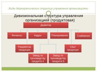 Виды бюрократических структур управления организациями Дивизиональная структу