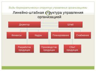 Виды бюрократических структур управления организациями Линейно-штабная структ