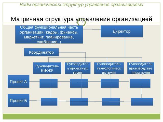 Виды органических структур управления организациями Матричная структура упра...
