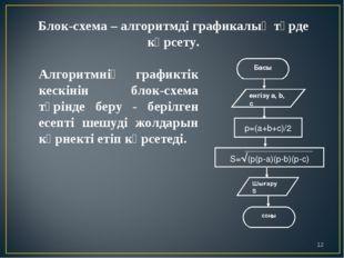 Блок-схема – алгоритмді графикалық түрде көрсету. Алгоритмнің графиктік кескі