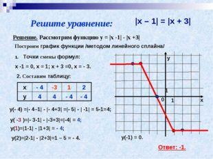 Решите уравнение:  x – 1  =  x + 3  Решение. Рассмотрим функцию y =  x -1  -