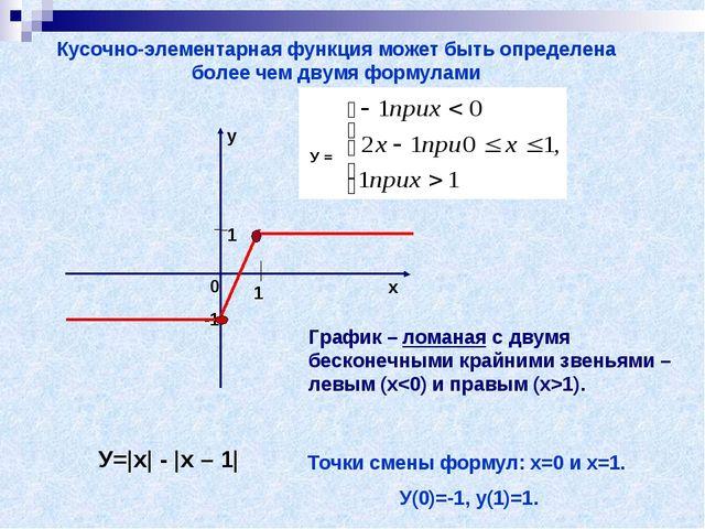 У= x  -  x – 1  Кусочно-элементарная функция может быть определена более чем...