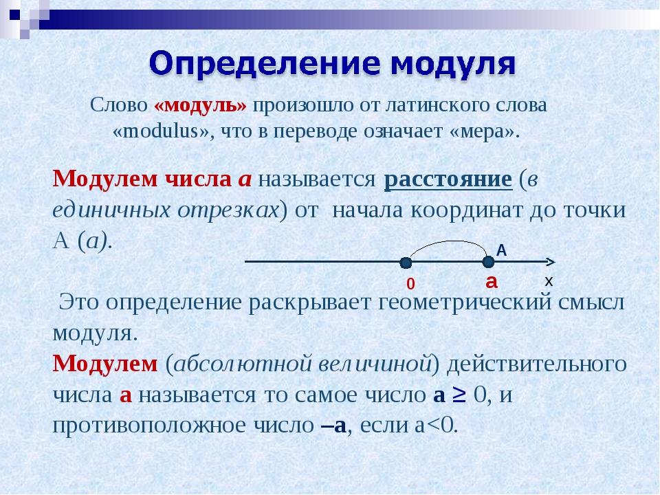 Слово «модуль» произошло от латинского слова «modulus», что в переводе означа...