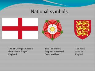The St George's Cross is the national flag of England National symbols The Tu