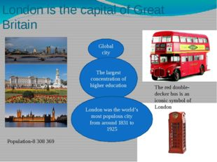 London is the capital of Great Britain Population-8 308 369 Global city The l